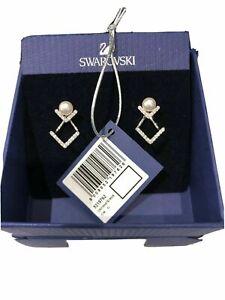 GENUINE SWAROVSKI Edify Clear Crystal & Pearl Rhodium Dual Earrings 5219762 BNIB