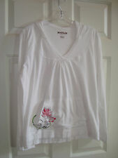 Magellan Sportswear White w/Floral Design Cotton Long Sleeve Hoodie/Top L EUC