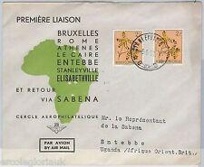 1st FLIGHT COVER - BELGIAN CONGO - SABENA: Bruxelles /  Elisabethville  1953