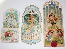 (3) 100% ORIGINAL vintage German pop-up/3-D Valentine's Day cards STUNNING IMAGE