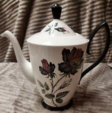 "Vintage Royal Albert ""Masquerade"" Coffee Pot 2 Cup Black Gothic Rose 9"" Circ1960"