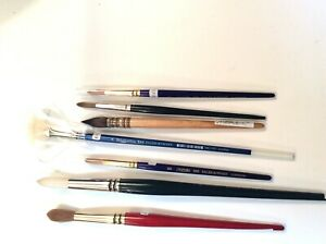 Collection Of 7 Winsor Newton& Daler&winton Artist Brushes