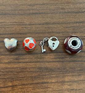PANDORA Enamel Murano Heart Love Charm Beads 925 Ale Sterling Silver- Lot Of 4!!