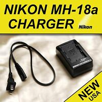 NEW Nikon Battery Charger MH-18a for D50 D70 D80 D90 D100 D200 D300s D700 USA