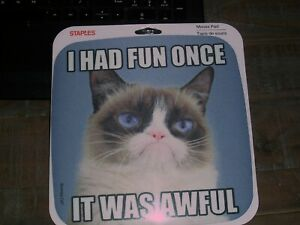 "NEW Staples Grumpy Cat Mouse Pad ""I had fun once, It was Awful"" NIP"