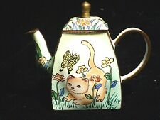 Charlotte Di Vita Miniature Enamel Teapot Trade + Aid - Cat & Butterfly 405 UK
