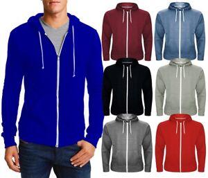 Mens Zip Up Hoodies American Plain Zipper Fleece Sweatshirts Jumper Top S - 5XL