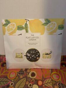 The Flat Lay Co.London Open Flat Makeup Bag & Cosmetics Mat in Lemons