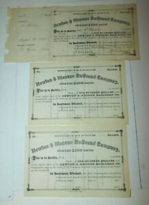 1877 Newton Iowa Newton & Monroe Railroad Company Stock Certificates