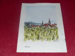 Jean-Pierre Manual Wind Watercolour Original Signed Wine de France Alsace