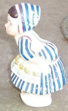 Kissing Dutch Girl with Blue Dress Pottery Wall Pocket Vintage Decorative