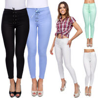 Ladies High Waisted Cotton Drawstring Leggings Full Length Stretchy Pants FS323