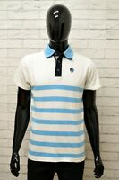 Polo Maglia Uomo GYMNASIUM Maglietta Taglia M Shirt Cotone a Righe Bianco Blu