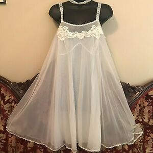 Vintage 1960'S GOSSARD Chiffon FROTHY BABYDOLL NIGHTGOWN SZ MED LOVELY SISSY