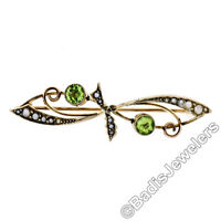 Antique Victorian 9k Gold Old Round Cut Peridot & Seed Pearl Bypass Brooch Pin