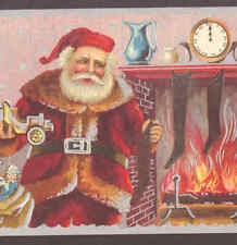 SANTA PROBLEM.. TOY CAR WON'T FIT INTO STOCKING,CHRISTMAS,VINTAGE POSTCARD