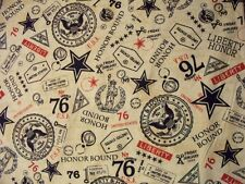 AMERICAN LIBERTY SEAL HONOR USA MILITARY WHITE COTTON FABRIC FQ OOP
