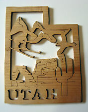 UTAH State Shape Wood Cutout Sign Wall Art Detailed Design Decor