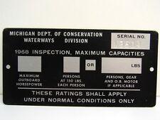 Vintage 1968 Michigan Boat Inspection Maximum Passenger Metal Plate Tag Sign