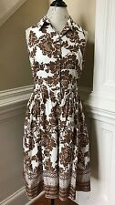 Willow Glenn New York Dress Womens 10 Floral Fit & Flare Brown White Vintage NY