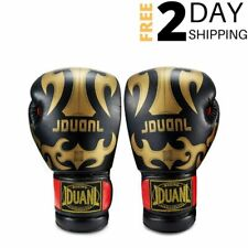 Black Leather Boxing Gloves for Training Kickboxing Muay Thai Sparring 10 oz
