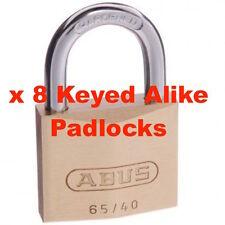ABUS Keyed Alike Padlock Set  65/40 40mm - x 8 Abus Padlocks -FREE POST