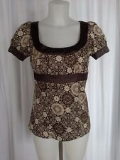 SIZE S - New $36.00 SPEECHLESS Brown Ivory Satin Like Babydoll Tieback Top Shirt
