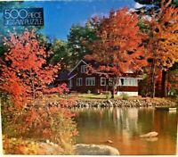 Vtg GOLD  Picture Puzzle Maine Cottage 500 Pieces