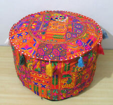 """22"""" Vintage Handmade Ottoman Pouf Cover Indian Patchwork Embroidery Footstool"""