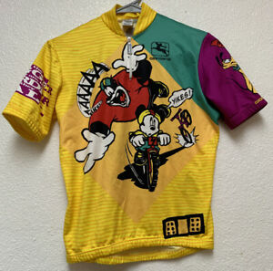GIORDANA 1/4 Zip Cycling Jersey Shirt sz L/16 Mickey Mouse Sold As Is See Pics