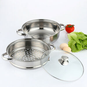 3TIER4PC INDUCTION HOB STAINLESS STEEL 28CM STEAMER POT PAN COOKER SET GLASS LID