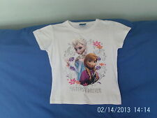 Girls 7-8 Years - White T-Shirt - Disney Frozen Motif