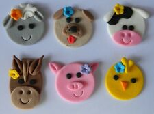 12 edible FARM ANIMAL sheep DOG cow HORSE pig cake CUPCAKE topper DECORATION