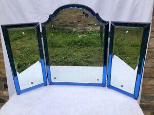 Stunning! Vintage Antique 1930s Art Deco Triptych Blue Glass Framed Mirror
