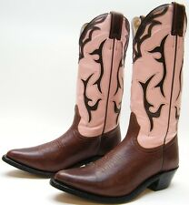 WOMENS SILVER REBEL BROWN PINK INLAY LEATHER COWBOY WESTERN BOOTS SZ 7 C 7C