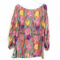 1980s French Connection True Vintage Floral Lagenlook Blouse Top Multicolour Med