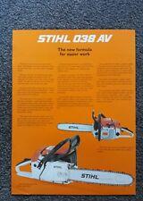 Stihl 038av and 038aveq chainsaw advertising brochure  nos