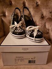 NEW COACH Emilanna Women's Black and White Cotton Wedges Slingback Shoes Sz 7.5