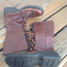 "Vintage Kenneth Cole Boots Moto Biker Mens Shoes 12.25"" Brown Leather Lace Up"