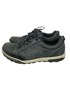 Mens ECCO RECEPTOR TECHNOLOGY Black Leather Lace Up Shoes Size 42 US 8.5-9