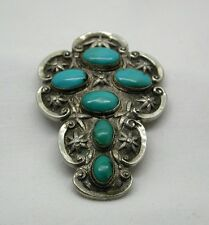 Vintage Large Heavy Chinese Silver And Turquoise Clip Brooch