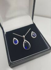 Pearcut Blue sapphire created diamond white gold finish necklace and earrings