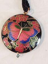 Vintage Black Enamel Cloisonne Butterfly Double Side Pendant Cord Necklace