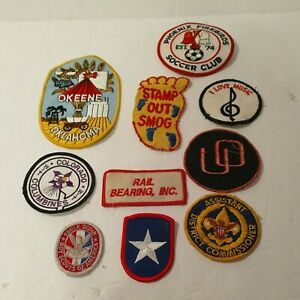 Sew On Embroidered Patches Lot of 10 mixed Sizes And Subjects