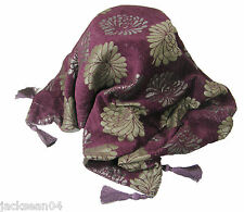 LUXURIOUS TASSELED CHENILLE FLORAL SOFA BED THROW SPARKLY PURPLE SILVER 145X180