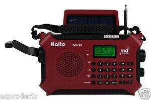 KA700 Red AM/FM W/Bluetooth RDS NOAA Solar Crank Recorder Keypad Tuning & More!