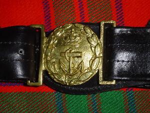 RN   Royal Navy Officers Regulation Black Leather Sword Belt   LB21   Size 30-40