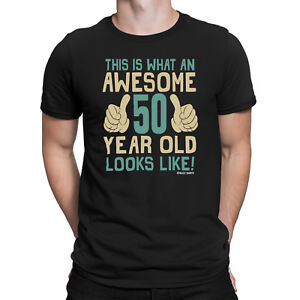 Mens 50th BIRTHDAY T-Shirt ORGANIC Awesome 50 Years Old Joke Funny Gift Fifty