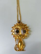Vintage GOLD-TONE Rhinestone eyes Happy lion PENDANT NECKLACE super cute jewel