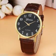 Ladies Gold Geneva Quartz Platinum Black Faced Brown Band Wrist Watch.(Aussie)